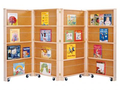 Mobile Library Bookcase - 4 Sections