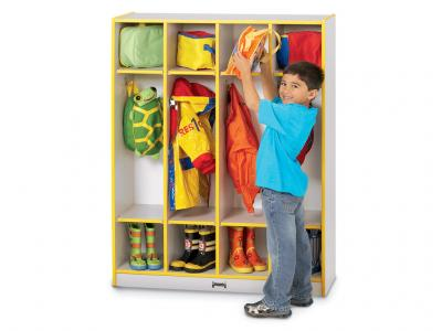Coat Locker - Rainbow Accents - 4 Sections (Green)