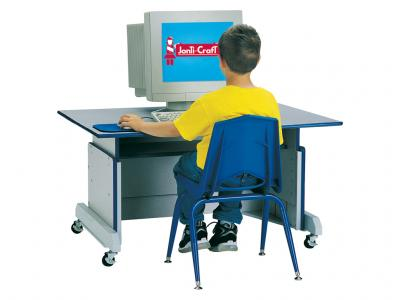 Kids Computer Table - Rainbow Accents (Red)