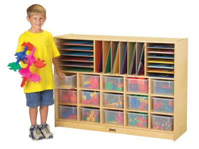 Sectional Mobile Cubbie With Colored Trays