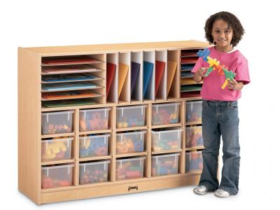 Sectional Mobile Cubbie With Clear Trays - MapleWave