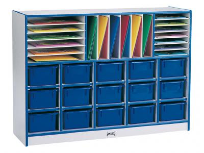 Sectional Mobile Cubbie With Trays - Rainbow Accents