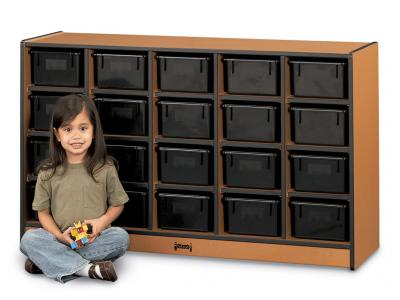 20 Tray Mobile Cubbie With Clear Trays - Sproutz (Black)