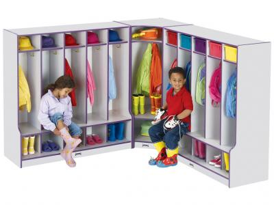 Corner Coat Locker W/step - Rainbow Accents (Orange)