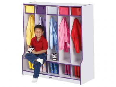 Coat Locker W/step - Rainbow Accents - 5 Sections