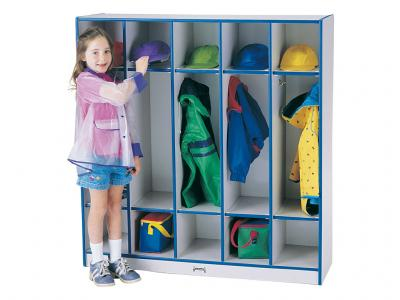Coat Locker - Rainbow Accents - 5 Sections (Green)