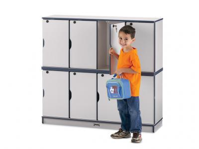 Stacking Lockable Lockers - Rainbow Accents - Double Stack (Teal)