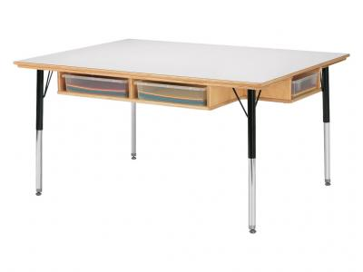 "Table W/storage - 6 - 24"" - 31"" Ht - With Colored Paper-trays"