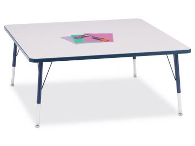 "Kydz Activity Table - Rainbow Accents - Square - 48"" X 48"", 15"" - 24"" Ht"