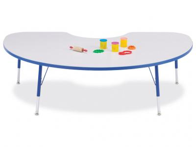 "Kydz Activity Table - Rainbow Accents - Kidney - 48"" X 72"", 24"" - 31"" Ht (Gray/orange)"