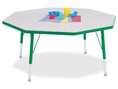 "Kydz Activity Table - Rainbow Accents - Octagon - 48"" X 48"", 15"" - 24"" Ht (Gray/green)"