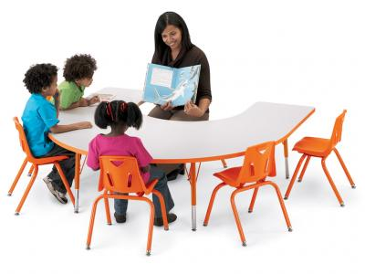 "Kydz Activity Table - Rainbow Accents - Horseshoe - 66"" X 60"", 24"" - 31"" Ht (Gray/teal)"