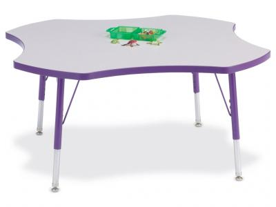 "Kydz Activity Table - Rainbow Accents - Four Leaf - 48"", 11"" - 15"" Ht (Gray/green)"