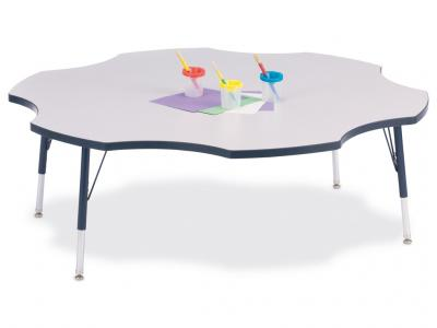 "Kydz Activity Table - Rainbow Accents - Six Leaf - 60"", 15"" - 24"" Ht (Gray/green)"
