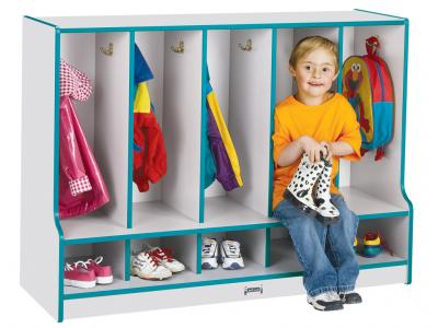 Toddler Coat Locker W/step - Rainbow Accents - 5 Sections - With Trays (Purple)