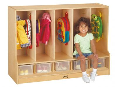 Toddler Coat Locker W/step - 5 Sections - With Clear Trays