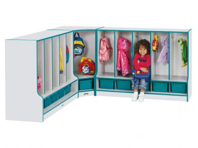 Toddler Corner Coat Locker W/step Without Tray - Rainbow Accents (Teal)