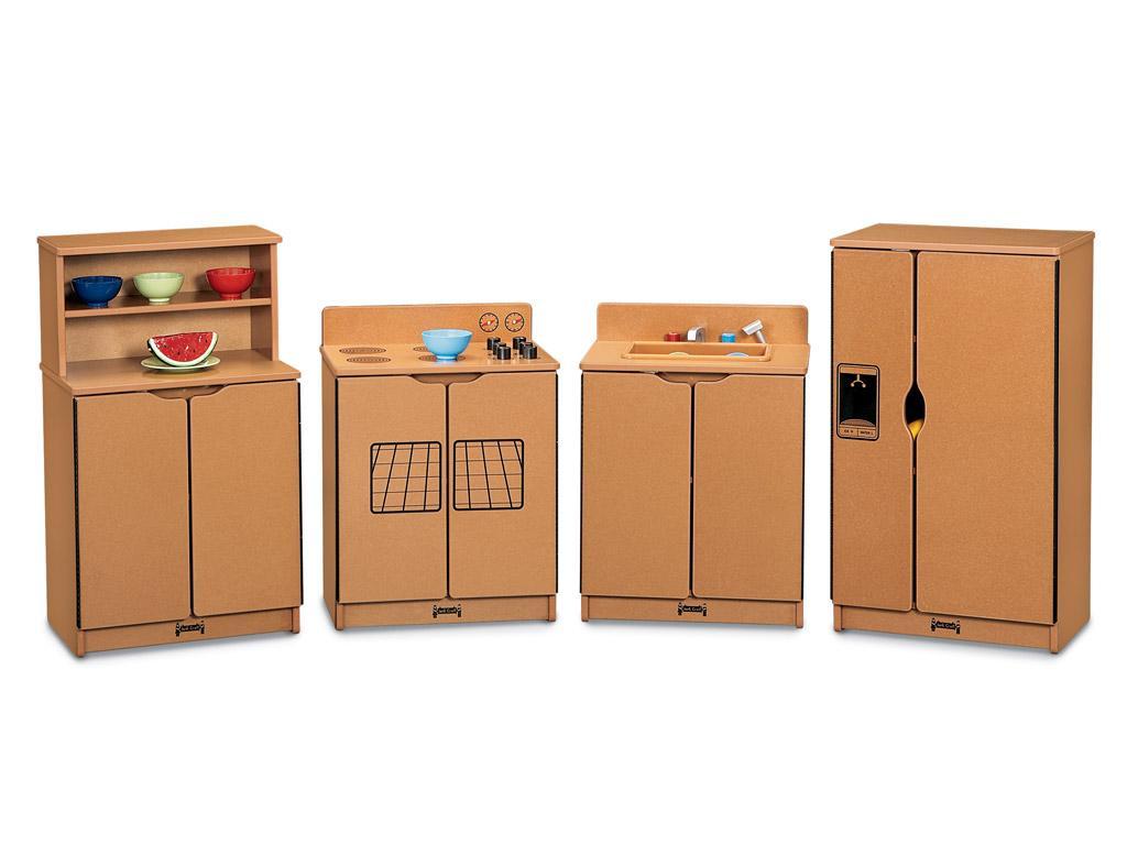 Image kids kitchen set sproutz 4 piece set caramel for Child size kitchen sets