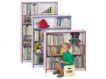 "Kids Bookcase - Rainbow Accents - 60"" High (Orange)"
