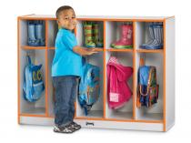 Toddler Coat Locker - Rainbow Accents - 5 Sections