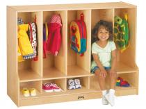 Toddler Coat Locker W/step - 5 Sections - Without Trays