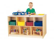 Mobile Storage Island - Twin With Colored Trays